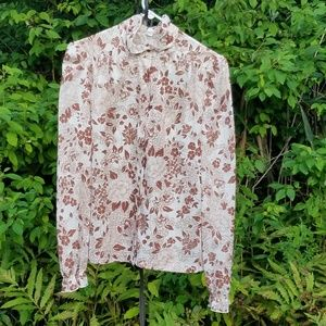 Vintage 70s Floral Button Down Shirt w/ Ruffles